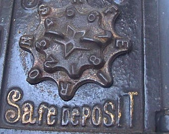 Antique Circa 1900 Cast Iron SECURITY Safe Deposit STILL BANK