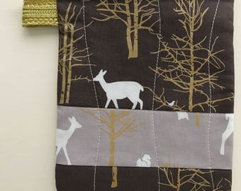 Small Brown/Tan/Confetti Deer Zip Pouch
