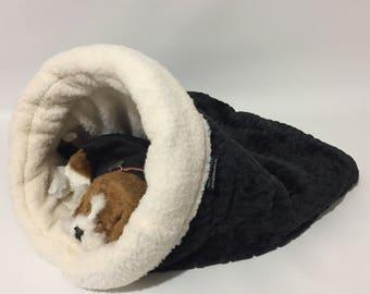 snuggle den black faux fur pet bed sleeping bag den