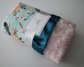 Boho Floral and Arrow Minky with Aqua Background and Ice Pink Rose Swirl Minky with Teal Satin - Baby Blanket - Additional Crib Bedding