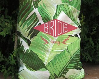 Monogram Tropical palm leaf Beach bag,Destination wedding tote bag,bridal party,bride bridesmaid gift