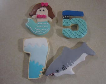 12 Sharks and Mermaids Hand Decorated Cookies