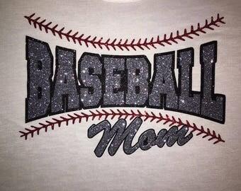 Women's Baseball Mom Glitter Shirt