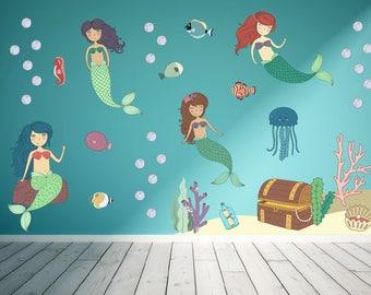 Mermaid Wall Decals, Ocean Wall Decals, Mermaid Nursery, Girls Room Wall Decals, Mermaid Wall Decor, Mermaid Theme Room, Mermaid Decorations