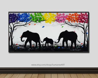 40 x 80 cm, Colorful elephant painting on ca nvas