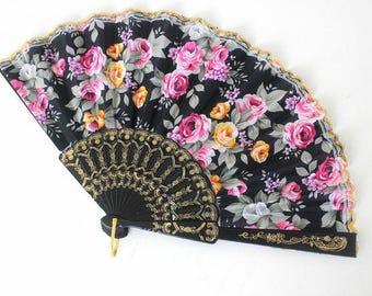 Hand Fans, hand fan, Abanico, weddingfan,black with romantic roses,pink
