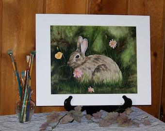 Rabbit Animal Matted Art Print 11inx14in