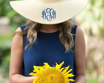 Monogrammed Floppy Hat - Derby Hat - Personalized Floppy Hat -Monogram Hat - Personalized Hat - Straw Hat - Monogram Derby Hat