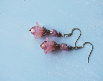 Earrings, dusty pink lucite flower and glass dangle earrings