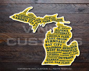 Michigan Cities Vinyl Decal Sticker v5