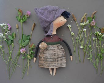 Pixie elf doll - Woodland  girl - Handmade doll - Textile toy - Exrime primitive - Embroidered face - Fairytale - Fantasy doll - Cloth doll.