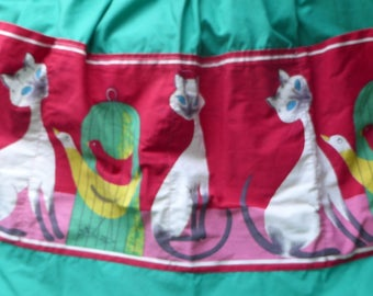Cute vintage 1950s/60s Siamese cats birds green cotton apron St Michael