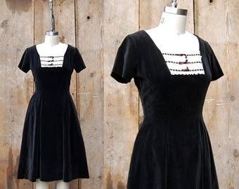 25% OFF ON SALE - c. 1950s velvet dress + vintage 50s Jonathan Logan black party dress