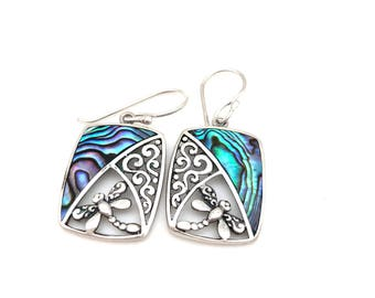 Sterling Silve Square Abalone and Dragonfly Earrings