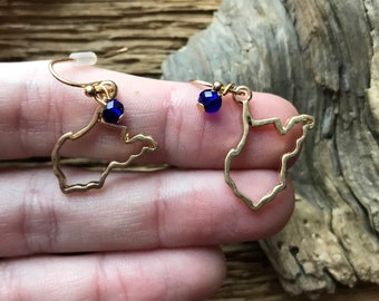 West Virginia Mountaineers gold and blue earrings: WVU earrings, West Virginia earrings, mountaineers earrings, mountaineer jewelry, WVU