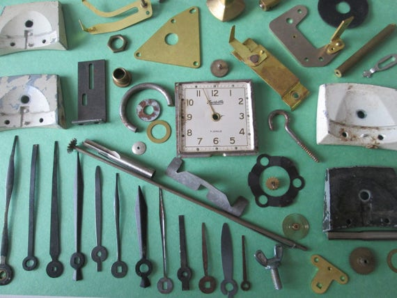 Vintage Lot of Alarm Clock Parts And Assorted Clock Parts, Clock Hands and Hardware  for your Clock Projects - Steampunk Art