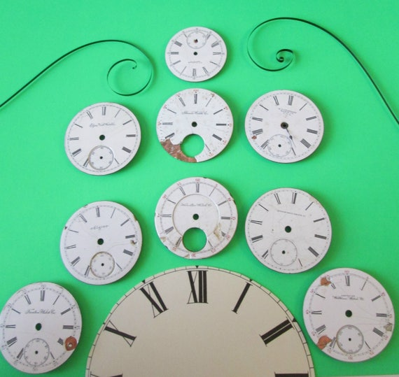 Lot 3 -   9  Assorted Antique and Vintage Ceramic Pocket Watch Dials for your Watch Projects - Jewelry Making - Steampunk Art