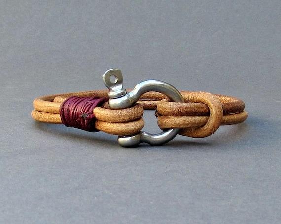 Nautical Mens Bracelet Schackle Mens Leather bracelet Cuff  Customized On Your Wrist