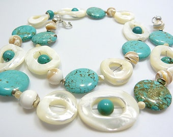 Necklace of Turquoise and mother of pearl