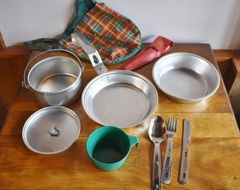 Vintage Girl Scout Mess Kit, Girl Scout Utensil Set, Girl Scout Collectibles, Camping Equipment, Metal Mess Kit