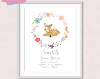 Baby Stats Wall Art, Woodland Name Print, Deer Nursery, Woodland Nursery, Nursery Name Print, Custom Name Art, New Baby Gift, Baby Stats