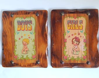 2 Girls Boys Wood Lacquered Vintage Bathroom Wall Home Decor Signs