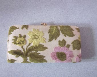 1960s Etched Velour Wallet with Floral Pattern