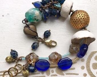 Blue gold bracelet, porcelain bracelet, multistrand pearl bracelet, heart bracelet, vintage bracelet, uk shop, gift for her