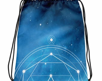 Drawstring bag - Sacred Geometry Blue 1 Drawstring Bag