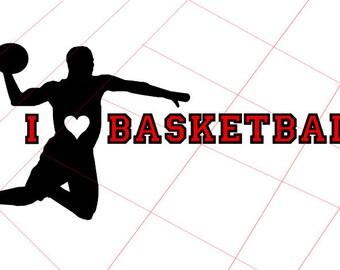 I Love Basketball Vinyl Decal - SVG Digital Download