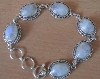 "Moonstone Bracelet Sterling Silver,Small Moonstone Bracelet,Moonstone Bezel June Birthstone,White Stone Genuine Gems 14x10 MM Oval 8.5""Inch"