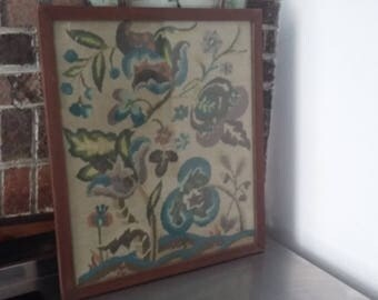 Large Vintage Tapestry Needlepoint Plants