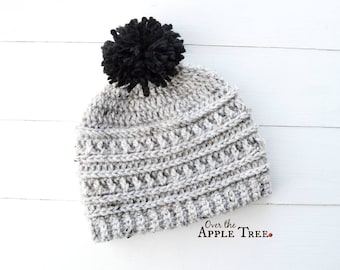 Teen Adult Winter Hat, Textured Hat, Pom Pom Hat