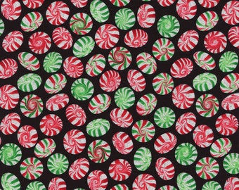 Peppermint Candy Christmas Food w/ Glitter Timeless Treasures #2342 By the Yard