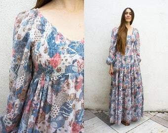 VINTAGE 1970s Prairie Floral Tiered Maxi Dress | Poet Sleeve Scoop Neck Dress | Semi Sheer Smocked Patchwork | Boho Hippie Flower Child