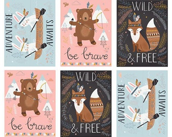 Wild & Free Quilt fabric panel Moda baby wall hanging cotton 35310 11