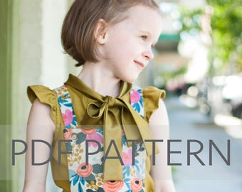 Penny Blouse PDF, girl blouse pattern, girl pdf, sewing pattern, children's pattern, top pattern, summer pdf, girl pattern, flutter pattern