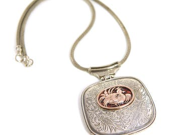 Pendant of silver 925 & Gold K_9 inspired from Greek folk art - Handmade