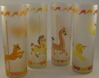 Vintage Frosted Glasses (4) Libbey Merry-Go-Round, Carousel, Circus Animals, Mid Century Barware