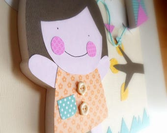The little girl with a kite - Decorations for kids - wall art
