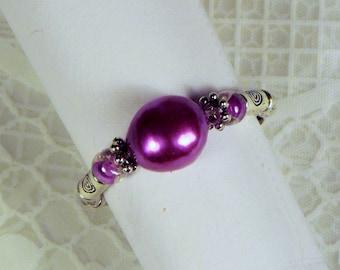 "Cynthia Lynn ""RIVER GEMS"" Fuschia Magenta Pink Freshwater Pearl and Glass Bead Sterling Silver Stretch Ring"