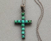 Victorian PERSIAN Turquoise CROSS Pendant Necklace Sterling Silver Chain, Womens Antique Jewelry, Religious Gift for Her
