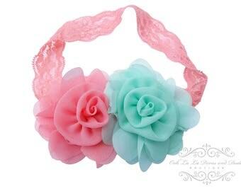 Aqua Coral Headband/Baby Headband/Baby Girl Hair Accessories/Infant Headband/Baby Girl Headband/Girl Headband Baby/OohLaLaDivasandDudes