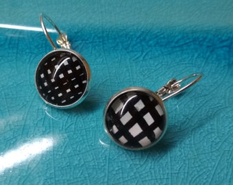 Earrings - black and white cubes