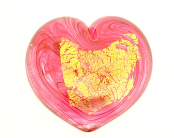 Heart of Gold Art Glass Paperweight Ruby, Small #7
