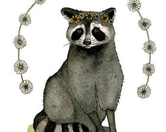 Raccoon Floral Illustration Art Print