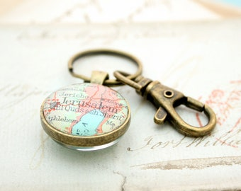 Double Sided Map Keychain / Farewell Gift for Foreign Exchange Student / Farewell Gift for Teacher / Personalized Map Keyring