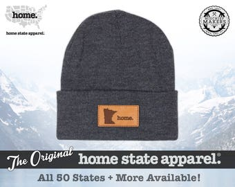 All 50 States Available: Home State Apparel - Leather Patch Beanie