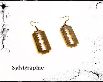 Bronze razor blade earrings