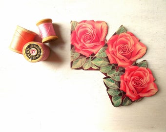 Pink Rose Needle Book West German Made for Stanley Home Products -Vintage Sewing Collectible /0685